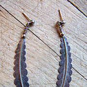 Long Vintage Native American Sterling Silver Feather Earrings