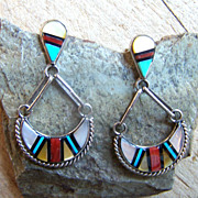 Signed Zuni Sterling Silver Inlaid Gemstone Earrings