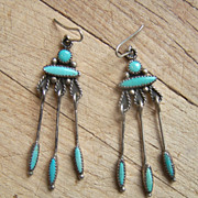 Old Pawn Native American Sterling Silver And Green Turquoise Dangle Earrings