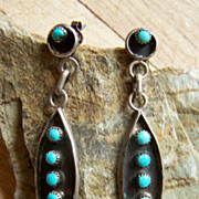 Signed Vintage Zuni Sterling Silver And Turquoise Petitpoint Earrings