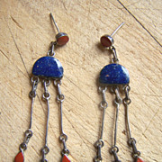Long Signed Vintage Native American Sterling Silver, Lapis And Coral Dangle Earrings