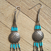 Long Vintage Native American Sterling Silver And Turquoise Dangle Earrings