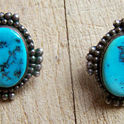 Vintage Native American Sterling Silver And Turquoise Earrings