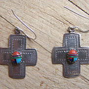 Vintage Southwestern Sterling Silver Inlaid Cab Cross Earrings