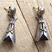 SOLD Vintage Native American Sterling Silver Tee Pee Earrings