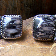 Vintage Native American Sterling Silver Petrified Wood Earrings