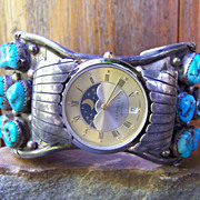 Large Old Pawn Native American Sterling Silver And Turquoise Nugget Watch Bracelet