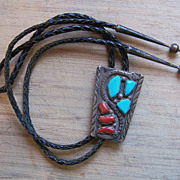 Old Signed Native American Rattlesnake Bolo With Turquoise And Coral