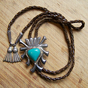 Old Signed  Navajo Sandcast Sterling Silver And Turquoise Bolo