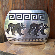 Signed Navajo Sterling Silver Overlay Bear Belt Buckle