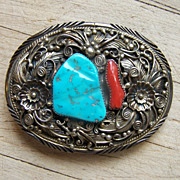 Highly Decorated Signed Navajo Sterling Silver, Turquoise And Coral Belt Buckle