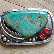 Spectacular Old Native American Belt Buckle With Easter Blue Turquoise