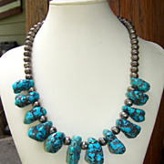 SALE PENDING Vintage Native American Turquoise Nugget And Sterling Bench Bead Necklace