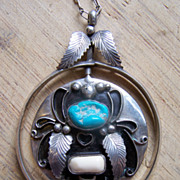 SOLD Huge Signed Native American Sterling Spinner Pendant