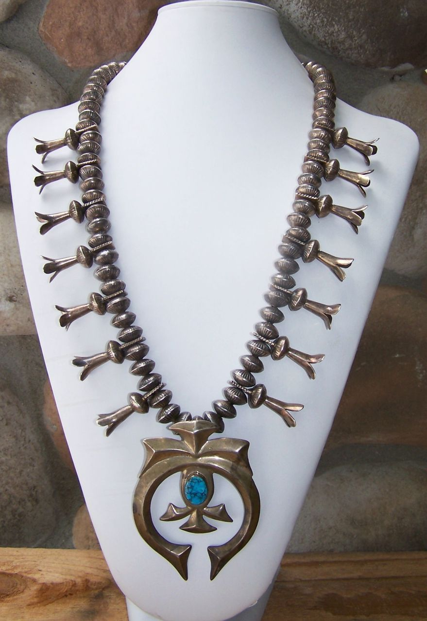 Huge Old Native American Sterling Silver And Turquoise Squash Blossom Necklace