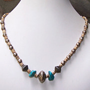 Vintage(1970 's) Native American Sterling Bead, Turquoise And Heishi Necklace