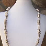 Extra Long Vintage Native American Handmade Sterling Silver Bead Necklace