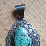 SOLD Large Vintage Navajo Ella Peter Sterling Silver And Turquoise Pendant