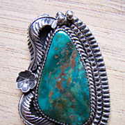Very Large Old Native American Sterling Silver And Green Turquoise Pendant