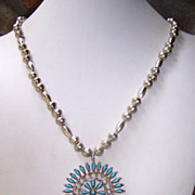 Vintage Native American Sterling Silver Necklace With Turquoise Pendant