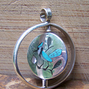 SOLD Signed Vintage Zuni Sterling Silver Inlaid Spinner Pendant