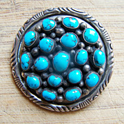 Signed Vintage Navajo Sterling Silver And Turquoise Pendant/Brooch