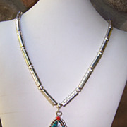SALE Signed Native American Handmade Sterling Silver Bead And Turquoise Necklace