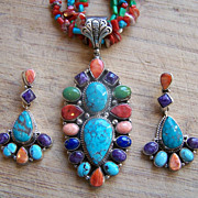 SALE Spectacular Navajo Sterling Silver And Gemstone Necklace And Earrings