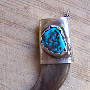 Vintage Native American Sterling Silver And Turquoise Claw Pendant
