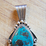 Large Signed Vintage Native American Sterling Silver And Turquoise Pendant  e