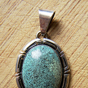SOLD Signed Vintage Native American Sterling Silver And Turquoise Pendant
