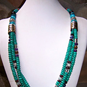 Large Navajo Tommy Singer 3 Strand Turquoise And Gemstone Necklace