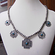 Vintage Native American Sterling Silver And Turquoise Cross Necklace