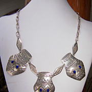 Vintage Signed San Felipe Sterling Silver And Lapis Necklace
