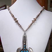 Huge Vintage Native American Sterling Silver And Turquoise Pendant Necklace
