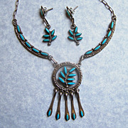 Signed Vintage Zuni Turquoise Needlepoint Earrings And Necklace