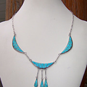 Signed Vintage Zuni Sterling Silver And Turquoise Necklace
