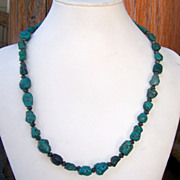 Vintage Native American Sterling Silver And Turquoise Bead Necklace