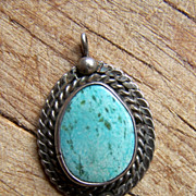 Vintage Native American Sterling Silver And Turquoise Pendant