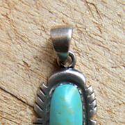 Signed Vintage Native American Sterling Silver And Turquoise Pendant