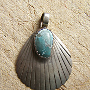 Signed Navajo Sterling Silver And Turquoise Shell Pendant