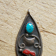 Vintage Native American Sterling Silver, Turquoise And Coral Pendant