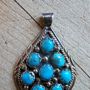 Signed Vintage Navajo Sterling Silver And Turquoise Pendant