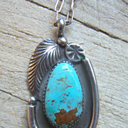 Large Signed Vintage Navajo Sterling Silver And Turquoise Pendant With Chain