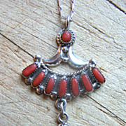 Signed Zuni Vintage Sterling Silver And Coral Dangle Pendant