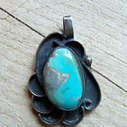 Older Native American Sterling Silver And Turquoise Pendant