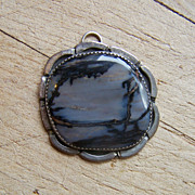 Large Vintage Native American Sterling Silver Petrified Wood Pendant