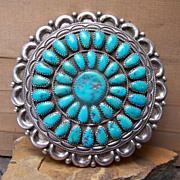 SOLD Huge Signed Native American Sterling Silver And Turquoise Petitpoint  Brooch/Pendant