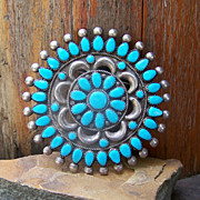 Signed Navajo Victor Moses Begay Sterling Silver And Turquoise Cluster Brooch