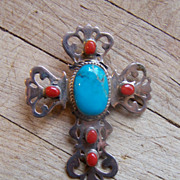 SOLD Large Signed Vintage Sterling Silver, Coral And Turquoise Cross Brooch/Pendant